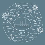 Cute vector illustration with ship, octopus, fish, anchor, helm,. Waves, seashells, starfish, crab arranged in a circle. Design for banner, poster or print Stock Photo