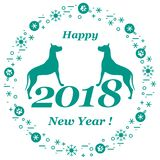 Cute vector illustration of two dogs and inscription happy new y. Ear around the balls with footmarks and snowflakes. Winter theme. Design element for poster or Royalty Free Illustration