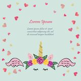 Cute vector illustration with Unicorn tiara and horn, pink. Wings on blue background with hearts. Template for St. Valentine`s Day/invitation/party/Mother day/ vector illustration