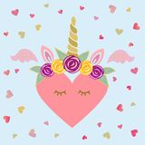 Cute vector illustration with Unicorn tiara and horn, pink wings, sweet heart. Template for St. Valentine`s Day/invitation/party/Mother day/birthday/baby birth Royalty Free Stock Photos