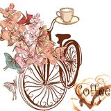 Cute vector invitation with fake bicycle and flowers. Cute coffee illustration with old-fashioned fake bicycle with basket fully of orchids and butterflies fly stock illustration