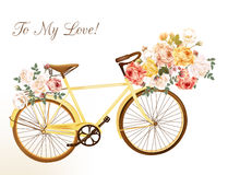 Cute vector invitation with yellow bicycle and flowers Royalty Free Stock Images