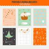 Cute Vector Journaling 3x4 Vertical Cards. Notes, Stickers, Labels, Tags with Winter Christmas Illustrations and Wishes. Template for New 2016 Year Greeting royalty free illustration