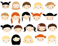Cute vector kids faces Stock Photography