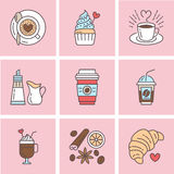 Cute vector line icons of coffee. Elements espresso cup, milk, sugar, croissant, hot drinks, cupcake, latte, cinnamon. Cute vector line icons of coffee. Elements Stock Photography