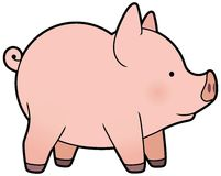Cute vector little pig Stock Photos