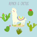 Cute Vector Llama and Cactus Design Elements. Illustration. Stock Photos