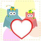 Cute vector love owl with heart background Stock Photos