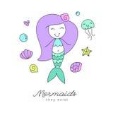 Cute vector mermaid Royalty Free Stock Images