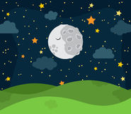 Cute Vector Nighttime Landscape with Stars and Clouds. Cute Vector Nighttime Landscape with Rolling Hills, Stars and Clouds Stock Photography