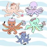 Cute vector ocean set of octopuses. vector illustration