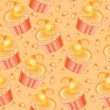 Cute vector orange cupcake Royalty Free Stock Images