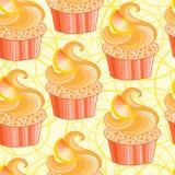 Cute vector orange cupcake Royalty Free Stock Photos