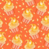Cute vector orange cupcake Royalty Free Stock Photo