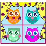 Cute Vector Owls Royalty Free Stock Images