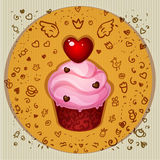 Cute vector party cupcake Royalty Free Stock Images
