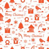 Cute vector pattern of different new year and christmas symbols. Winter theme. Design for postcard, banner, poster or print Royalty Free Illustration