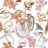 Cute vector pattern with fake bicycles and flowers Stock Images