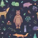 Cute vector pattern with forest animals, fir-trees, twigs and flowers. Cartoon pattern on a dark blue background Stock Image