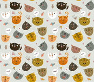 Cute vector pattern with funny kitties Stock Images