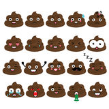 Cute vector poop emoji set. Turd emoticons, design elemets Royalty Free Stock Photography