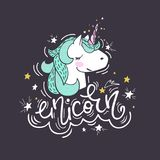 Portrait of a unicorn. Cute vector a portrait of a unicorn. Magic romantic character surrounded by stars for sticker, patch badge, card, t-shirt and funny vector illustration