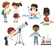Cute vector Pupils activity in school set. Little school kids set. Stock Photos