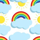 Cute vector rainbow seamless pattern with weather icons. royalty free illustration