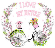 Cute vector retro bicycle for ladies with dog and basket full of Stock Image