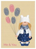 Cute vector romantic love card with a girl wearing  funny eared hat and adorable outfit holding fingerprinted balloons. Royalty Free Stock Images