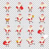 Cute vector Santa Claus paper sticker icon set in flat style isolated on transparency grid background, christmas vector illustration