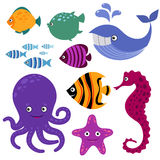Cute vector sea creatures. Cartoon smiling animals. Cute vector sea creatures. Cartoon smiling sea animals. Colored sea fish and seahorse, whale and octopus Royalty Free Stock Photos