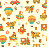 Cute vector seamless baby background. Cartoon children pattern. Stock Photo
