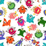 Cute vector seamless colorful monster pattern for happy little boy Royalty Free Stock Photo