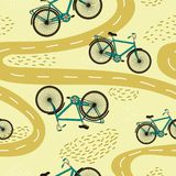 Vector seamless pattern with bicycles and paths. stock photography