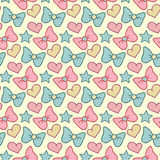 Cute vector seamless pattern with bows, hearts and stars. Retro girlish hand drawn background. Cute vector seamless pattern with bows, hearts and stars. Retro stock illustration
