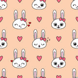 Cute vector seamless pattern with bunnies Stock Photo