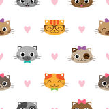Cute vector seamless pattern with cats Royalty Free Stock Images