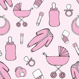 Cute vector seamless pattern with children`s things for design and decoration Stock Photo