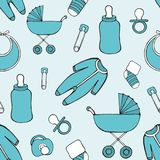 Cute vector seamless pattern with children`s things for design and decoration Royalty Free Stock Image