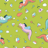 Cute  vector  seamless pattern. Dragons and diamonds Stock Photo