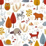Cute vector seamless pattern with forest plants, birds, bear, deer, raccoon, and fox. stock illustration