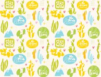 Vector summer seamless pattern with cactus and lettering. vector illustration