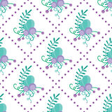 Cute vector seamless pattern with hand-drawn floral elements and branches. Stylish simple design. Vector illustration. Stock Photos