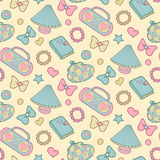 Cute vector seamless pattern with notebook, alarm clock etc. School elements, childish background. Royalty Free Stock Photos