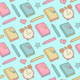 Cute vector seamless pattern with notebook, alarm clock etc. School elements, childish background. Royalty Free Stock Photography