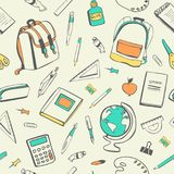 Vector seamless pattern with school supplies. Cute vector seamless pattern with school supplies and accessories on light background. Back to school backdrop Royalty Free Stock Photos