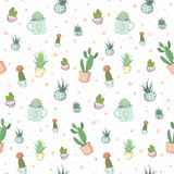 Cactus seamless pattern stock illustration