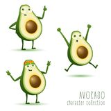 Cute vector set of avocado fruit character in different action emotion royalty free illustration