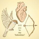 Cute vector set with bird, bow and heart Stock Photos